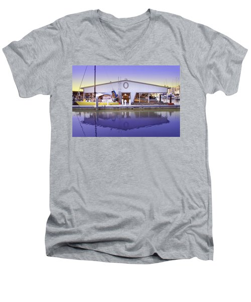 Men's V-Neck T-Shirt featuring the photograph Boat House by Sonya Lang