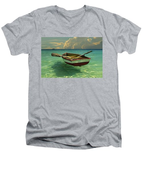 Boat In Clear Water Men's V-Neck T-Shirt