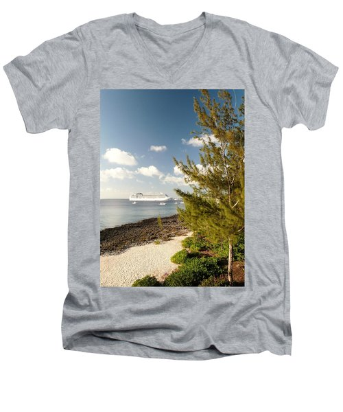 Men's V-Neck T-Shirt featuring the photograph Boat In Port by Amar Sheow