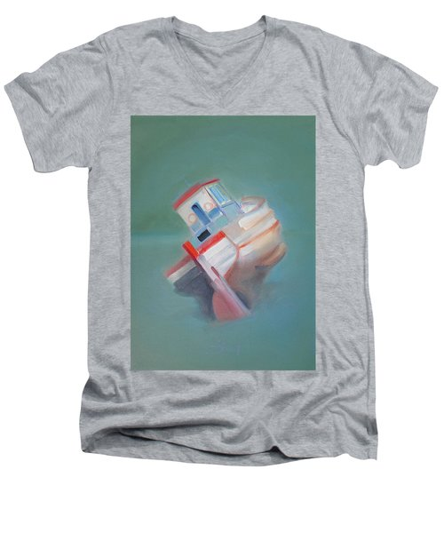 Men's V-Neck T-Shirt featuring the painting Boat Retired  Tavira by Charles Stuart