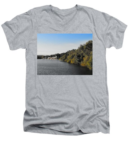 Men's V-Neck T-Shirt featuring the photograph Boathouse II by Photographic Arts And Design Studio