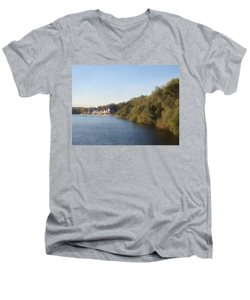 Men's V-Neck T-Shirt featuring the photograph Boathouse by Photographic Arts And Design Studio