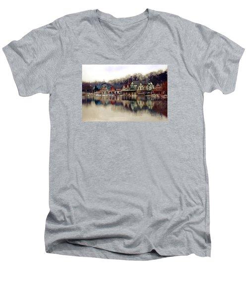 Boathouse Row Philadelphia Men's V-Neck T-Shirt