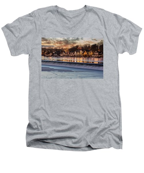 Boathouse Row Philadelphia Pa Men's V-Neck T-Shirt by Susan Candelario