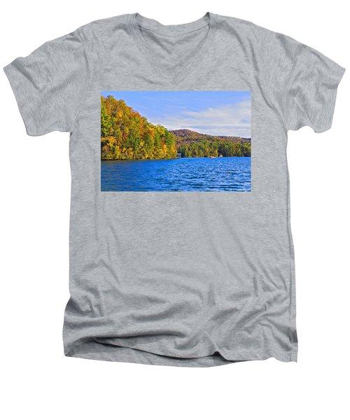 Boating In Autumn Men's V-Neck T-Shirt