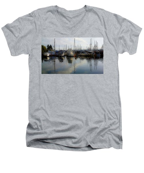 Men's V-Neck T-Shirt featuring the photograph Boats At Marina On Liberty Bay by Greg Reed