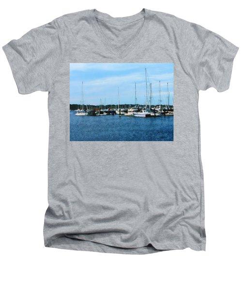 Boats At Newport Ri Men's V-Neck T-Shirt by Susan Savad