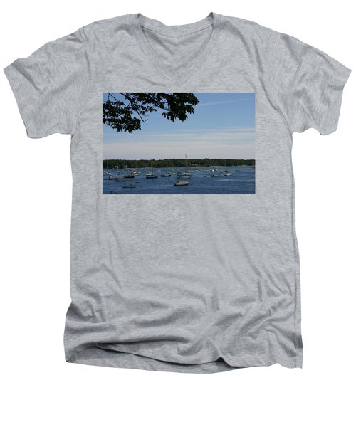 Men's V-Neck T-Shirt featuring the photograph Boats At Rest by Denyse Duhaime