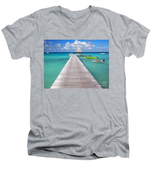 Boats At The Jetty In A Tropical Turquoise Lagoon Men's V-Neck T-Shirt