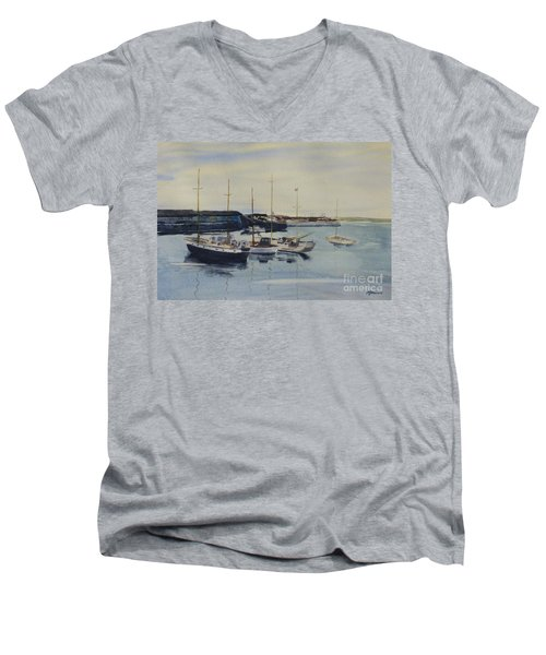 Boats In A Harbour Men's V-Neck T-Shirt