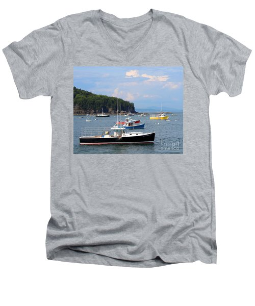 Boats In Bar Harbor Men's V-Neck T-Shirt