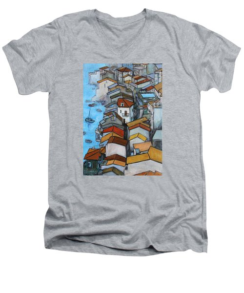 Boats In Front Of The Buildings Iv Men's V-Neck T-Shirt by Xueling Zou