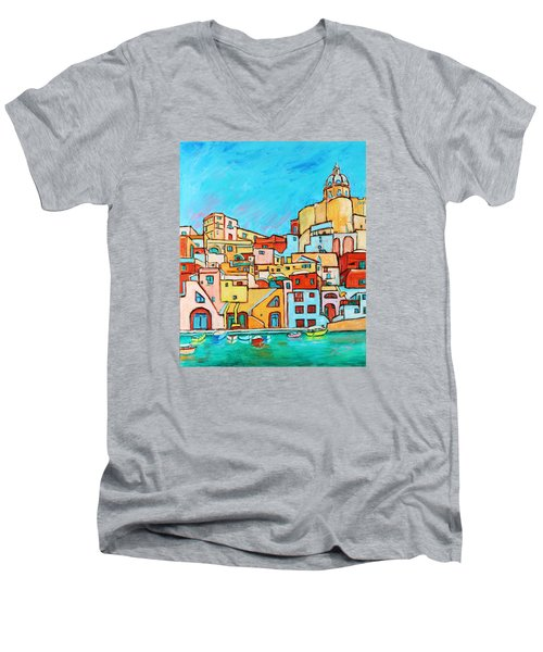 Boats In Front Of The Buildings Vii Men's V-Neck T-Shirt by Xueling Zou
