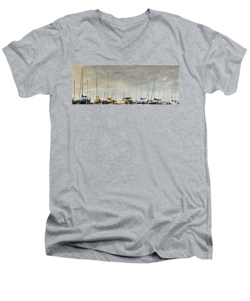 Men's V-Neck T-Shirt featuring the photograph Boats In Harbor Reflection by Peter v Quenter