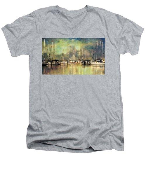 Boats In Harbour Men's V-Neck T-Shirt