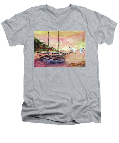 Men's V-Neck T-Shirt featuring the painting Boats In Sunset  by Faruk Koksal