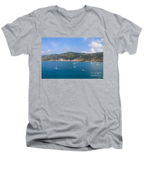 Boats In The Bay Men's V-Neck T-Shirt