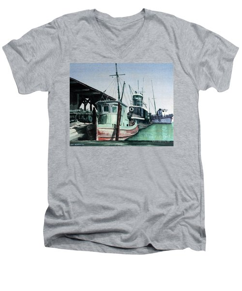 Men's V-Neck T-Shirt featuring the painting Boats by Joey Agbayani