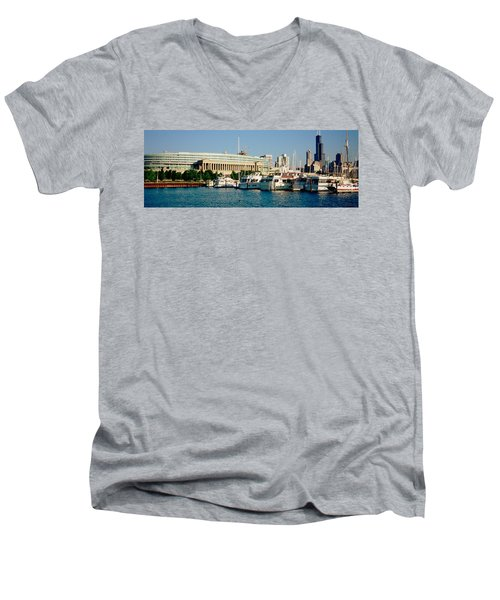 Boats Moored At A Dock, Chicago Men's V-Neck T-Shirt by Panoramic Images