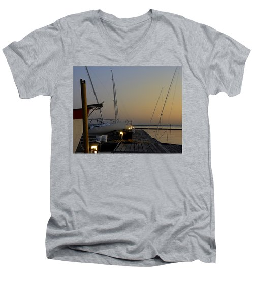Boats Moored To Pier At Sunset Men's V-Neck T-Shirt