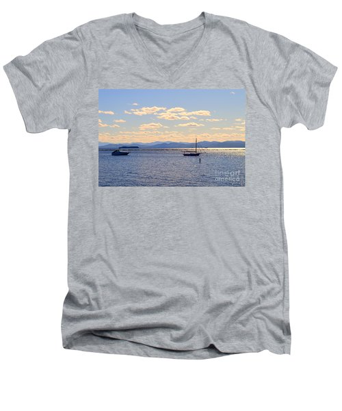 Boats On Lake Champlain Vermont Men's V-Neck T-Shirt by Catherine Sherman