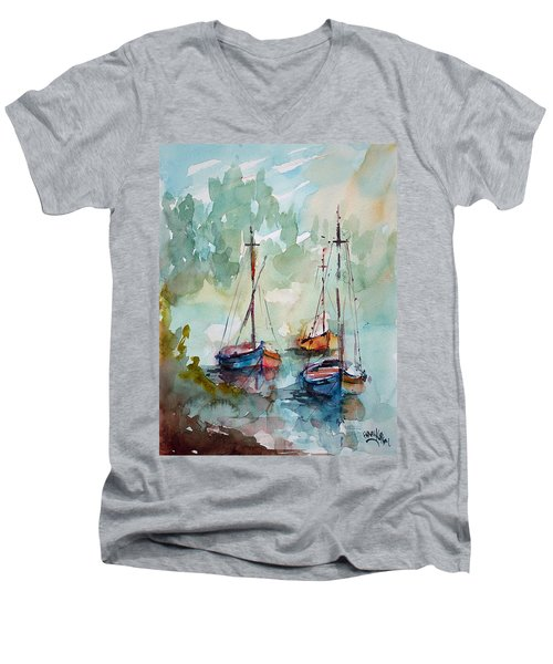 Men's V-Neck T-Shirt featuring the painting Boats On Lake  by Faruk Koksal