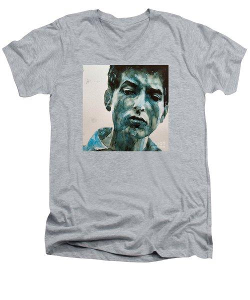 Bob Dylan Men's V-Neck T-Shirt by Paul Lovering