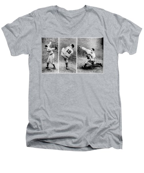Bob Feller Pitching Men's V-Neck T-Shirt