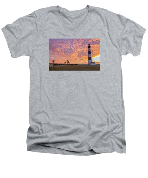 Bodie Island Lighthouse At Sunrise Men's V-Neck T-Shirt