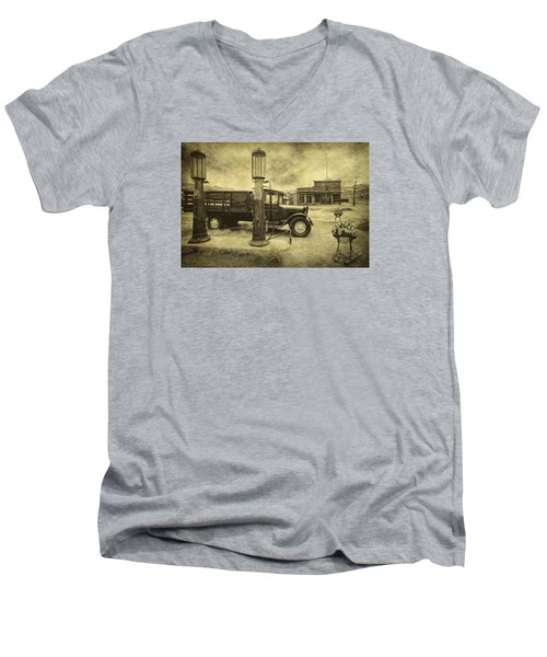 Men's V-Neck T-Shirt featuring the photograph Bodie Memories by Priscilla Burgers