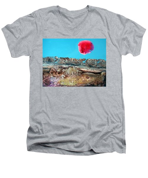 Men's V-Neck T-Shirt featuring the painting Bogomil Sunrise 2 by Otto Rapp