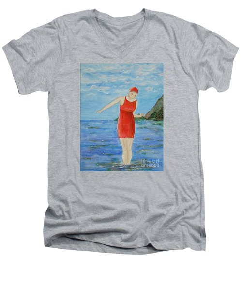 Bold Red Men's V-Neck T-Shirt by Tamyra Crossley
