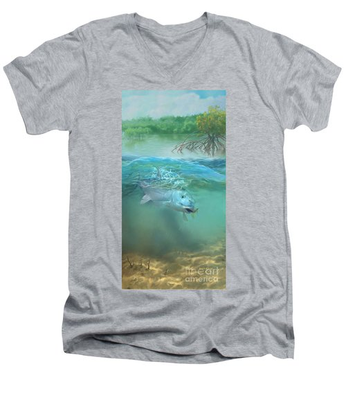 Men's V-Neck T-Shirt featuring the painting Bone Fish by Rob Corsetti
