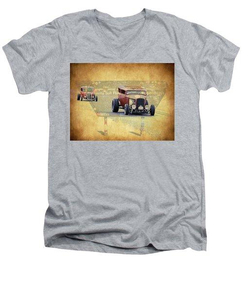 Bonneville Rodz Men's V-Neck T-Shirt by Steve McKinzie