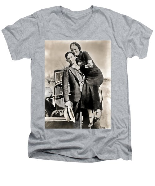 Bonnie And Clyde - Texas Men's V-Neck T-Shirt by Daniel Hagerman