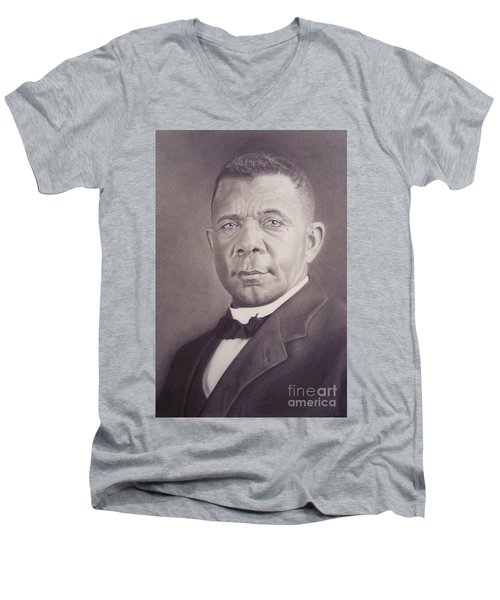 Men's V-Neck T-Shirt featuring the drawing Booker T Washington by Wil Golden