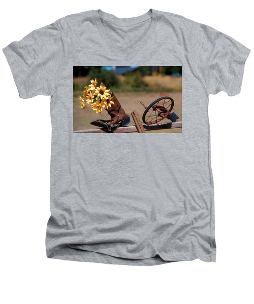 Boot With Flowers Men's V-Neck T-Shirt
