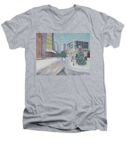 Boston First Snow Men's V-Neck T-Shirt