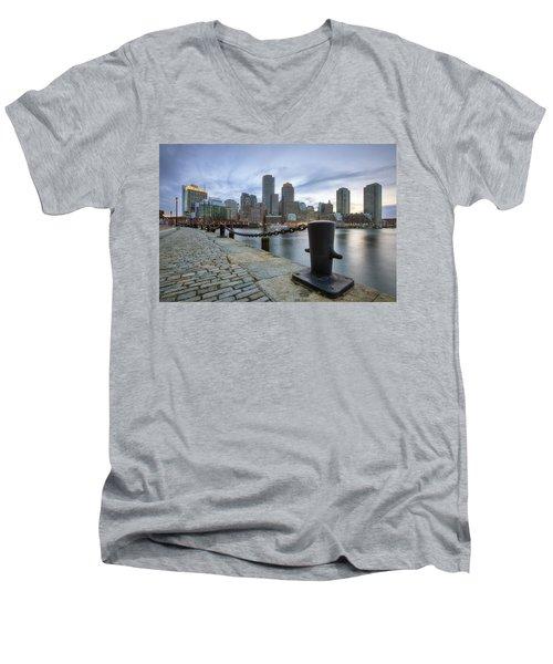 Boston Skyline Sunset Men's V-Neck T-Shirt