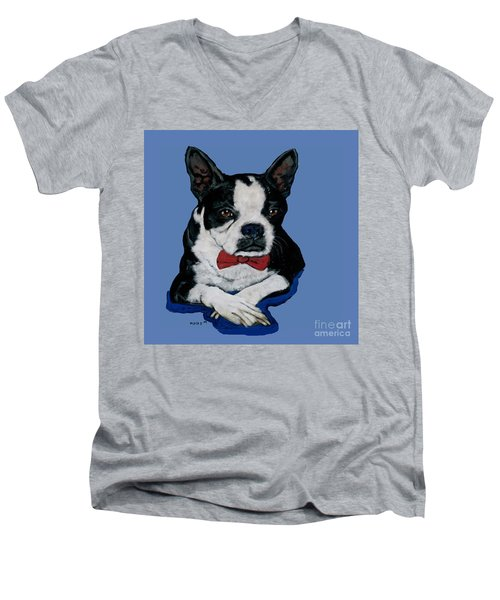 Boston Terrier With A Bowtie Men's V-Neck T-Shirt