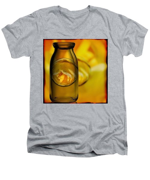 Bottled Yellow Rose Marble Men's V-Neck T-Shirt