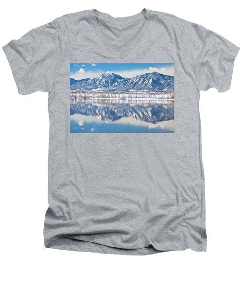 Boulder Reservoir Flatirons Reflections Boulder Colorado Men's V-Neck T-Shirt