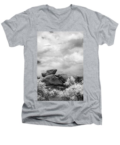 Boulders In Another Light Men's V-Neck T-Shirt by Michael McGowan