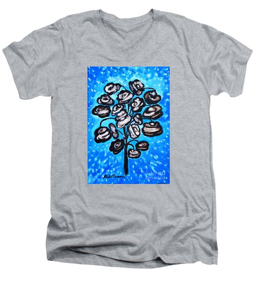 Men's V-Neck T-Shirt featuring the painting Bouquet Of White Poppies by Ramona Matei