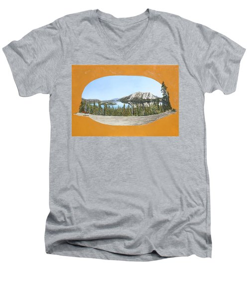 Men's V-Neck T-Shirt featuring the painting Bove Island Alaska by Wendy Shoults