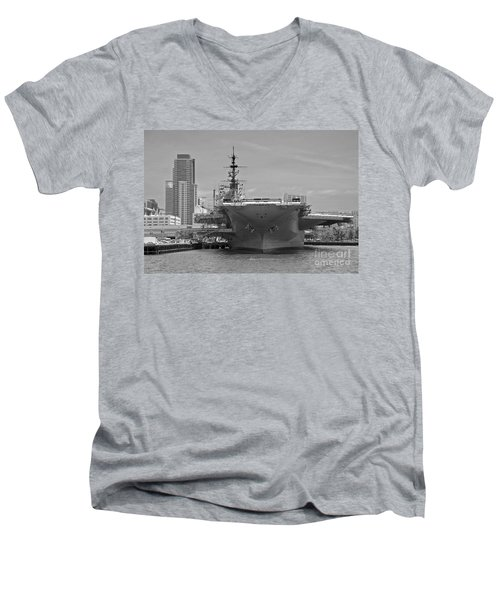 Bow Of The Uss Midway Museum Cv 41 Aircraft Carrier - Black And White Men's V-Neck T-Shirt by Claudia Ellis