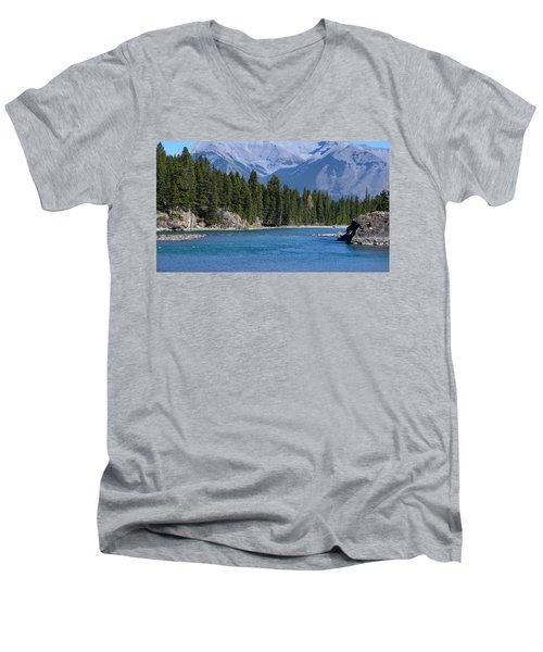 Bow River  Men's V-Neck T-Shirt by Cheryl Miller