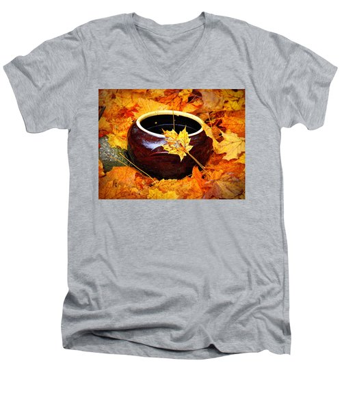 Men's V-Neck T-Shirt featuring the photograph Bowl And Leaves by Rodney Lee Williams