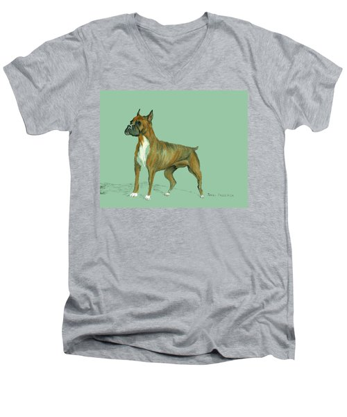 Boxer Men's V-Neck T-Shirt by Terry Frederick