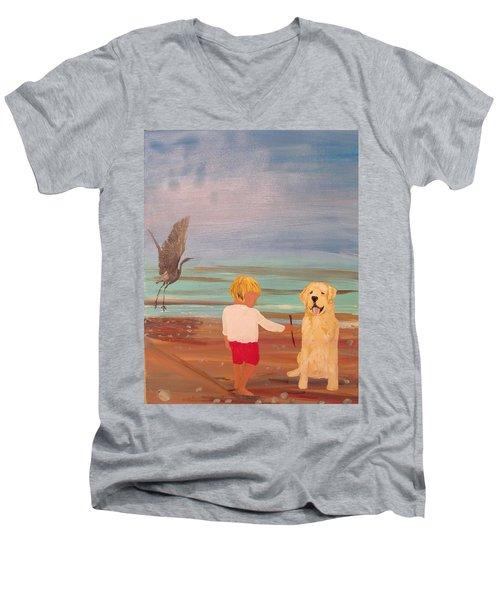 Boy And Dog Men's V-Neck T-Shirt